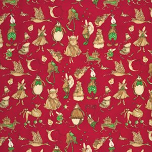Tina Givens Star Flakes and Glitter Fabric - Christmas Pageant - Scarlet