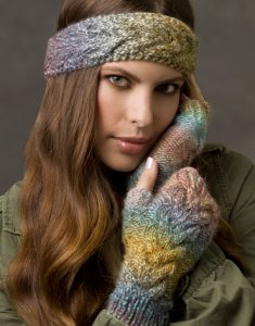 Red Heart Boutique Treasure Cold Weather Cables Set Kit - Hats and Gloves
