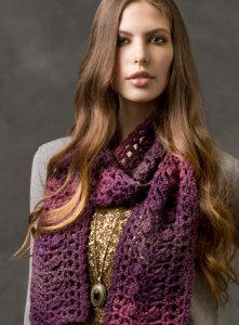 Red Heart Boutique Midnight Sophisticated Scarf Kit - Crochet for Adults