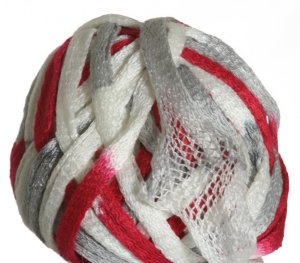 Knitting Fever Flounce Yarn - 23 Red, White, Silver