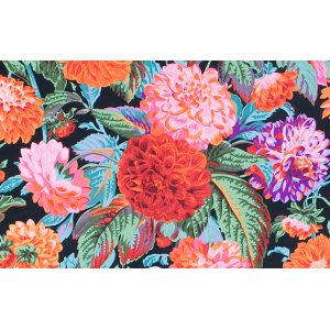 Philip Jacobs Pom Pom Dahlias Fabric - Black