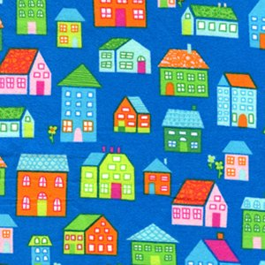 Erin McMorris Irving Street Flannel Fabric - Neighborhood - Blue