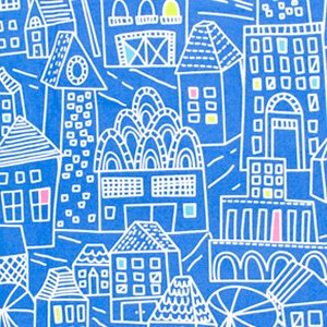 Erin McMorris Irving Street Flannel Fabric - Downtown - Blue