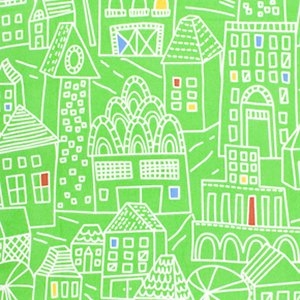 Erin McMorris Irving Street Flannel Fabric - Downtown - Green