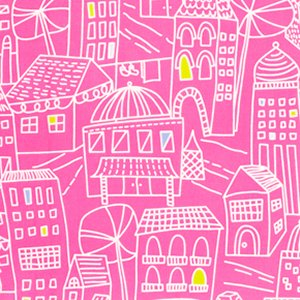 Erin McMorris Irving Street Flannel Fabric - Downtown - Pink