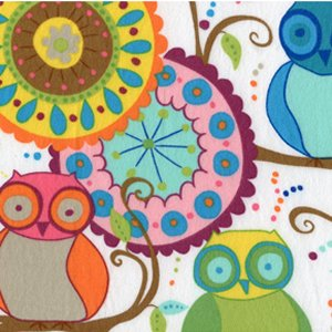 Valori Wells Della Flannel Fabric - Owl Friends - Multi