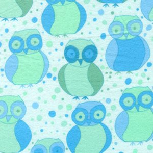 Valori Wells Della Flannel Fabric - Little Owls - Ocean