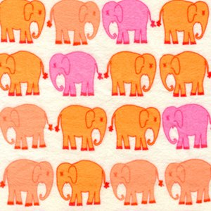 Valori Wells Bliss Flannel Fabric - Elephant March - Tangerine