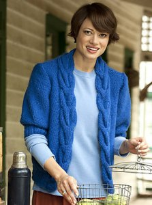 Brown Sheep Lamb's Pride Bulky Cable Front Cardigan  Kit - Women's Cardigans