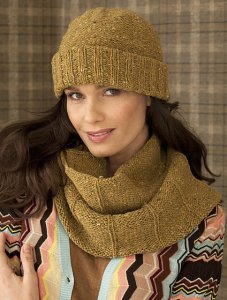 Tahki Tara Tweed Ribbed Cowl and Hat Set Kit - Hats and Gloves