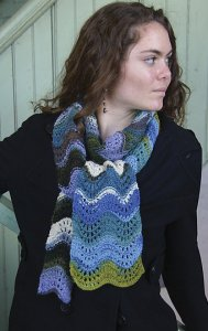 Classic Elite Liberty Print Striped Feather and Fan Scarf Kit - Scarf and Shawls
