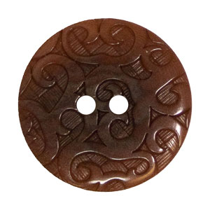 Blue Moon Button Art Corozo Ornate Buttons - Brown 23mm
