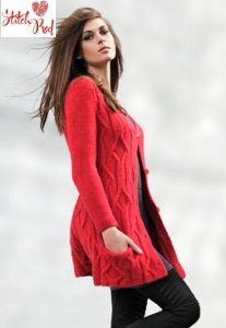 Blue Sky Alpacas Techno Jazzy Cardigan (Stitch Red) Kit - Women's Cardigans