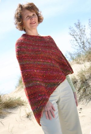 Knitting at Knoon Patterns - Easy Eyelet Poncho Pattern