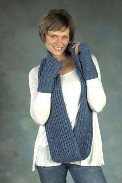 Plymouth Yarn Women's Accessory Patterns - 2384 Baby Alpaca Aire Brioche Infinity Scarf & Mitts Pattern