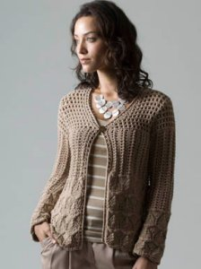 Tahki Soft Cotton Pressed Flowers Cardigan Kit - Women's Cardigans