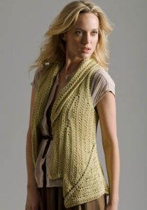 Tahki Soft Cotton Brass Buttons Vest Kit - Women's Sleeveless