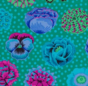 Kaffe Fassett Big Blooms Fabric - Emerald