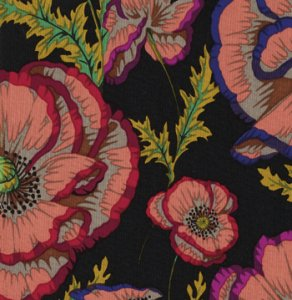 Philip Jacobs Banded Poppy Fabric - Black