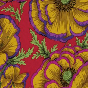 Philip Jacobs Banded Poppy Fabric - Carmine