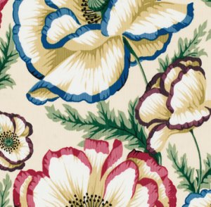 Philip Jacobs Banded Poppy Fabric - Natural