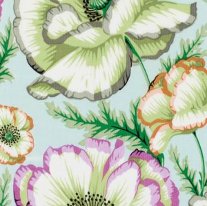 Philip Jacobs Banded Poppy Fabric - Mint