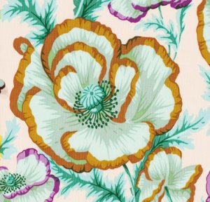 Philip Jacobs Banded Poppy Fabric - Peach