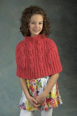 Plymouth Baby & Children Patterns - 2403 Encore Worsted Child's Cabeled Capelet Pattern