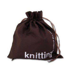 della Q Edict Cotton Pouch Style 118-2 - Knitting is Sitting For Creative People - Brown