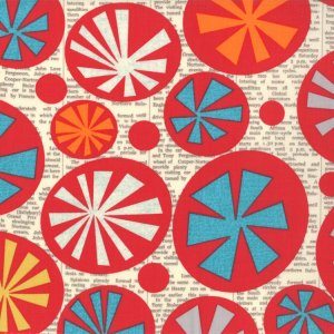 Jenn Ski Mod Century Fabric - Atomic Starbursts - Cream (30510 11)