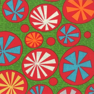 Jenn Ski Mod Century Fabric - Atomic Starbursts - Leaf (30510 13)