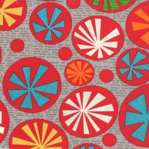 Jenn Ski Mod Century Fabric - Atomic Starbursts - Grey (30510 18)