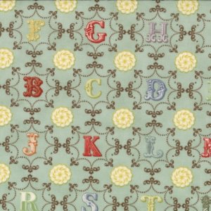 Julie Comstock Odds And Ends Fabric - From A to Z - Sky (37045 13)