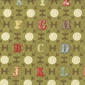 Julie Comstock Odds And Ends Fabric - From A to Z - Leaf (37045 15)