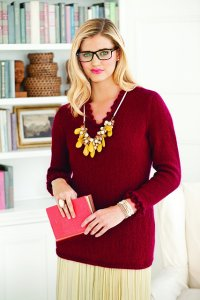 Rowan Kid Classic Knit Red Ruffled Pullover Kit - Women's Pullovers