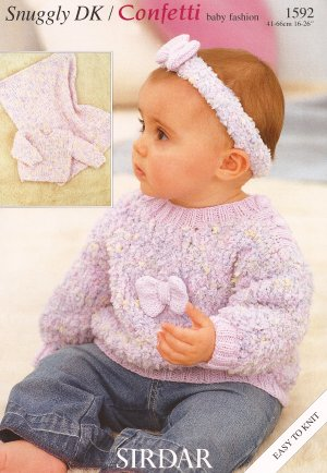 Sirdar Confetti Leaflets Patterns - 1592 - Pullover, Blanket, Headband Pattern