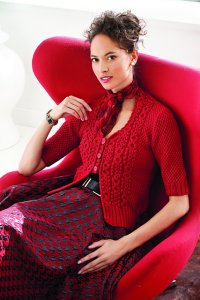 Berroco Vintage Knit Red Cabled Cardi Kit - Women's Cardigans