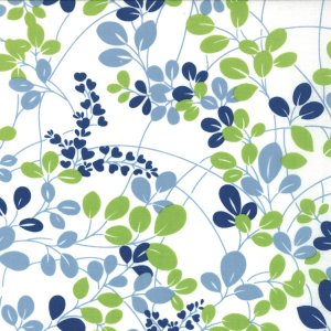 V and Co. Simply Color Fabric - Sprigs - White Navy Lime (10801 11)
