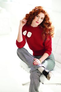 Baby Cashmerino Knit Red Dolman Sleeve Sweater Kit - Women's Pullovers