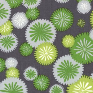 V and Co. Simply Color Fabric - Mod Blossoms - Graphite Grey (10803 13)