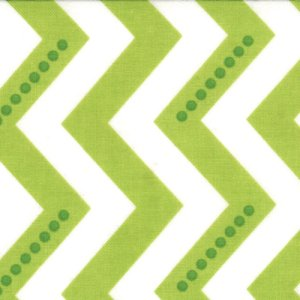 V and Co. Simply Color Fabric - Dotted Zig Zag - White Lime Green (10804 18)