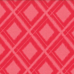 V and Co. Simply Color Fabric - Ikat Diamonds - Spicy Hot Pink (10806 14)