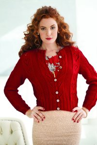 Rowan Pure Wool DK Knit Red Lace Hearts Cardi Kit - Women's Cardigans