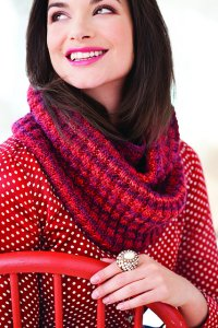 Crystal Palace Mochi Plus Knit Red Spiral Rib Cowl Kit - Scarf and Shawls