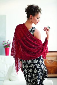 Classic Elite Silky Alpaca Lace Knit Red Lace Stole Kit - Scarf and Shawls