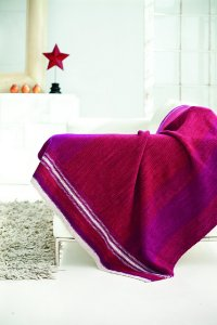 Swans Island Fingering Knit Red Linen Stitch Blanket Kit - Home Accessories