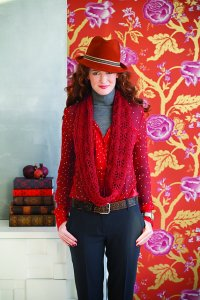 Be Sweet Whipped Cream Knit Red Lace Infinity Scarf Kit - Scarf and Shawls
