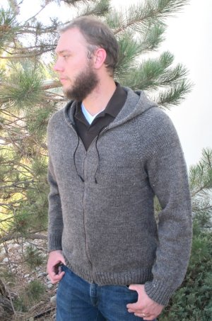 Knitting Pure and Simple Men's Sweater Patterns - 1212 - Zipper Hoodie For Men Pattern