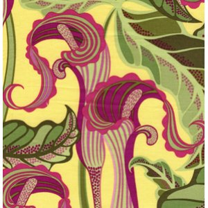 Jane Sassaman Sunshine and Shadow Fabric - Jack in the Pulpit - Mulberry