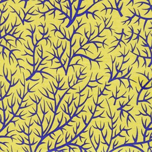 Jane Sassaman Sunshine and Shadow Fabric - Sprigs - Periwinkle